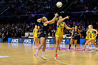 Silver Ferns&rsquo; Laura Longman and Diamonds&rsquo; Liz Watson in action during the International Netball Constellation Cup - NZ Silver Fans v Australia Diamonds at TSB Bank Arena, Wellington, New Zealand on Thursday 18 October  2018. <br /> Photo by Masanori Udagawa. <br /> www.photowellington.photoshelter.com