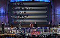 Group A is shown on the display during the FIFA Final Draw for the FIFA World Cup 2010 South Africa held at the Cape Town International Convention Centre (CTICC) on December 4, 2009.
