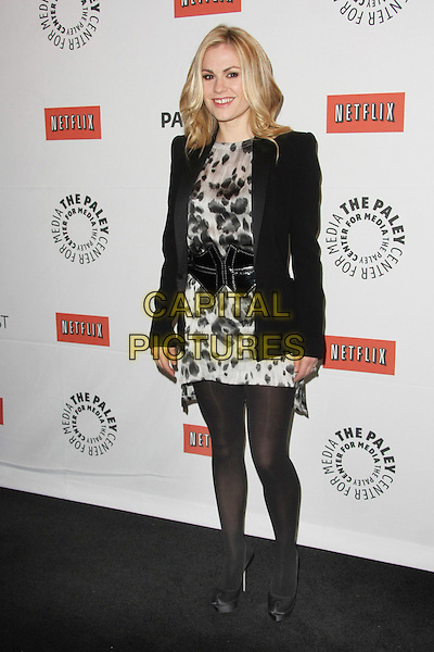 "ANNA PAQUIN.""True Blood"" at PaleyFest 2011  Held at The Saban Theater, Beverly Hills, California, USA, 5th March 2011..full length black gray grey print blazer jacket tights belt shoes platform .CAP/ADM/TB.©Tommaso Boddi/AdMedia/Capital Pictures."