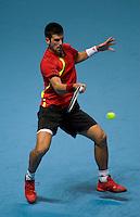 Novak Djokovic (SRB) against Nicolay Davydenko (RUS) in the Group B singles. Djokovic beat Davydenko 36 64 75..International Tennis - Barclays ATP World Tour Finals - O2 Arena - London - Day 2 - Mon 23 Nov 2009..© Frey - AMN IMAGES, Level 1 Barry House, 20-22 Worple Road, London, SW19 4DH - +44 20 8947 0100