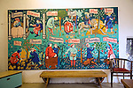 Mural painting of medieval life by season, Lewes Castle, East Sussex, England