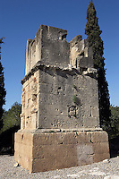 The Scipio?s Tower; First Century AD; Tarragona (Tarraco, Hispania Citerior), Catalonia, Spain; built with big stone blocks which came from a local quarry, it is formed by three superimposed bodies, a plinth and two upper floors where there are two high relief figures and an inscription which cannot be read due to the deterioration; These high relief figures were wrongly attributed to the Escipion?s brothers, founders of the Roman Tarraco. In fact they are two relief figures of the God Atis, a funeral god.