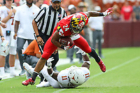 Landover, MD - September 1, 2018: Maryland Terrapins running back Ty Johnson (24) in action during the game between Texas and Maryland at  FedEx Field in Landover, MD.  (Photo by Elliott Brown/Media Images International)