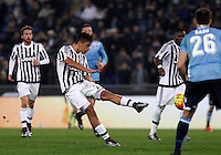 Calcio, Serie A: Lazio vs Juventus. Roma, stadio Olimpico, 4 dicembre 2015.<br /> Juventus&rsquo; Paulo Dybala scores during the Italian Serie A football match between Lazio and Juventus at Rome's Olympic stadium, 4 December 2015.<br /> UPDATE IMAGES PRESS/Isabella Bonotto