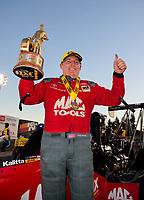 Nov 17, 2019; Pomona, CA, USA; NHRA top fuel driver Doug Kalitta celebrates after winning the Auto Club Finals at Auto Club Raceway at Pomona. Mandatory Credit: Mark J. Rebilas-USA TODAY Sports