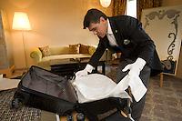Switzerland. Canton Graubünden. St. Moritz. Hotel Carlton. Gilles Ungright, head butler. Packing guest's luggage. © 2008 Didier Ruef