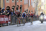 Greg Van Avermaet (BEL) BMC, Zdenek Stybar (CZE) Quick-Step Floors and Tim Wellens (BEL) Lotto-Soudal on the final brutal climb of Via Santa Caterina in Siena during the 2017 Strade Bianche running 175km from Siena to Siena, Tuscany, Italy 4th March 2017.<br /> Picture: Eoin Clarke | Newsfile<br /> <br /> <br /> All photos usage must carry mandatory copyright credit (&copy; Newsfile | Eoin Clarke)