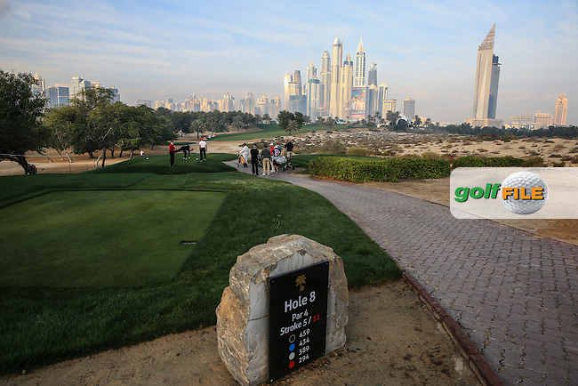 View from the 8th tee during the Pro-Am at the 2016 Omega Dubai Desert Classic, played on the Emirates Golf Club, Dubai, United Arab Emirates.  03/02/2016. Picture: Golffile | David Lloyd<br /> <br /> All photos usage must carry mandatory copyright credit (&copy; Golffile | David Lloyd)