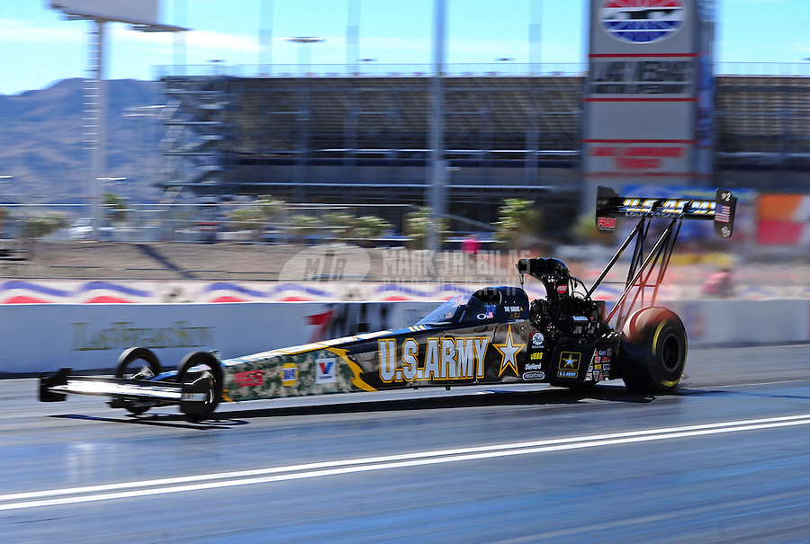 Apr. 4, 2011; Las Vegas, NV, USA: NHRA top fuel dragster driver Tony Schumacher during testing at The Strip in Las Vegas. Mandatory Credit: Mark J. Rebilas-