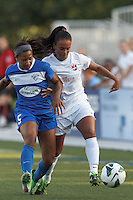 In a National Women's Soccer League (NWSL) match, Boston Breakers (blue) defeated Sky Blue FC (white), 3-2, at Dilboy Stadium on June 30, 2013.
