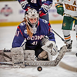 9 February 2018: University of Connecticut Huskie Goaltender Annie Belanger, a Senior from Sherbrooke, Quebec, makes a second period save against the University of Vermont Catamounts at Gutterson Fieldhouse in Burlington, Vermont. The Lady Cats defeated the Huskies 1-0 the first game of their weekend Hockey East series. Mandatory Credit: Ed Wolfstein Photo *** RAW (NEF) Image File Available ***