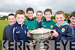 Patrick Brosnan, Eoin O'Rahily, Dan Fleming, Jack Brosnan, Conor O'Brien and John Daly with the Sam Maguire in Gneeveguilla on Sunday