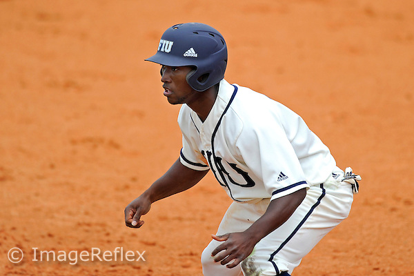 3 March 2013:  FIU outfielder Roche Woodard (16) prepares to run to second base as the University of Mississippi Ole Miss Rebels defeated the FIU Golden Panthers, 8-1, at University Park Stadium in Miami, Florida.
