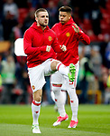 Luke Shaw of Manchester United warms up during the UEFA Europa League Quarter Final 2nd Leg match at Old Trafford, Manchester. Picture date: April 20th, 2017. Pic credit should read: Matt McNulty/Sportimage