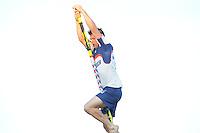FIERLJEPPEN: IJLST: Watte Abma Skânsen, 05-06-2013, Fierljepferiening Drylts e.o., 1e Klas wedstrijd, Senioren Topklasse, Thomas Helmholt (#), ©foto Martin de Jong