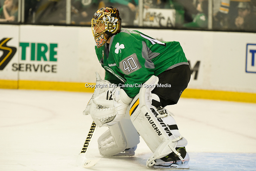 March 17, 2014 - Boston, Massachusetts , U.S. - Boston Bruins goalie Tuukka Rask (40)  dons a green jersey in celebration of Saint Patrick's Day during the warm up period before the NHL game between the Minnesota Wild and the Boston Bruins held at TD Garden in Boston Massachusetts. The Bruins defeated the Wild 4-1 at the end of regulation.  Eric Canha/CSM