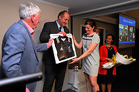Rebecca Mahoney is presented with her framed international test match referee jersey at Solway Copthorne Hotel in Masterton, New Zealand on Thursday, 27 July 2017. Photo: Dave Lintott / lintottphoto.co.nz