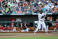 Ro Coleman #1 of the Vanderbilt Commodores bats during Game 2 of the 2014 Men's College World Series between the Vanderbilt Commodores and Louisville Cardinals at TD Ameritrade Park on June 14, 2014 in Omaha, Nebraska. (Brace Hemmelgarn/Four Seam Images)