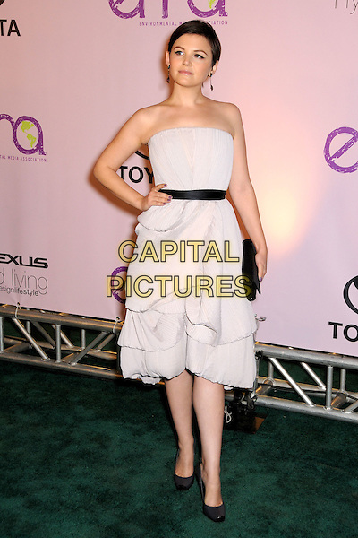 GINNIFER GOODWIN.2009 Environmental Media Awards held at Paramount Studios, Los Angeles, California, USA..October 25th, 2009.EMA EMA's EMAS full length black dress white grey gray purple lilac strapless clutch bag shoes belt hand on hip gathered .CAP/ADM/BP.©Byron Purvis/AdMedia/Capital Pictures.