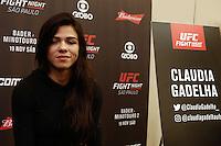 SÃO PAULO, SP, 17.11.2016 - UFC-SP - Claudia Gadelha durante Media Day do Ultimate Fight Championship (UFC) Fight Night São Paulo - Bader- Minotauro 2, no hotel Renaissance, na tarde desta quinta-feira, 18.  (Foto: Adriana Spaca/Brazil Photo Press)