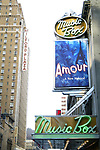 """Theatre Marquee for """"AMOUR"""" A New Musical By Composer Michel LeGrand Starring Melissa Erico and Malcolm Gets on October 1, 2002 at the Music Box Theatre in New York City."""