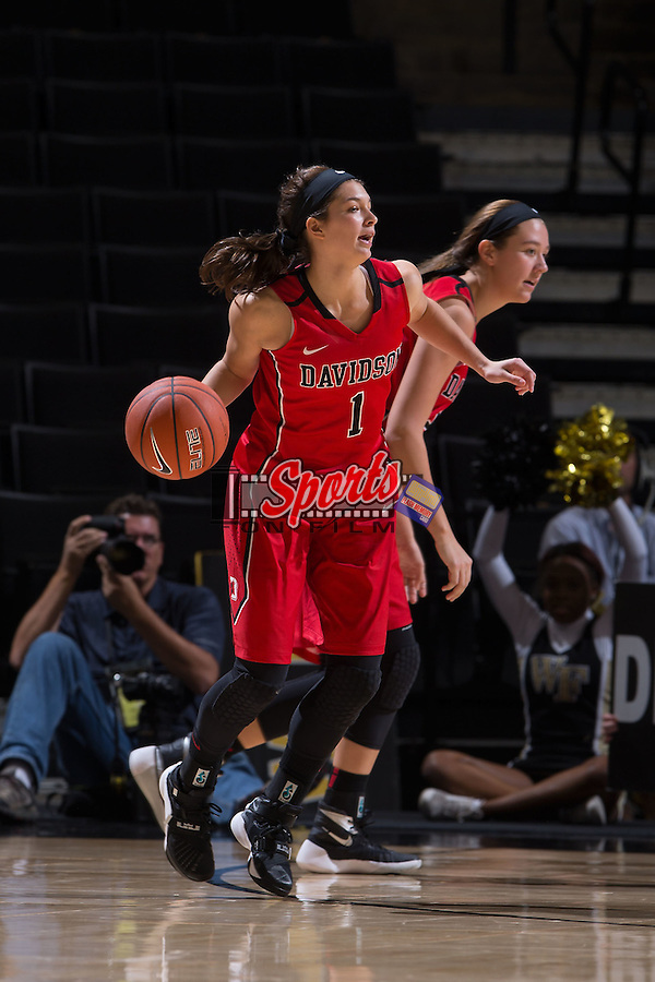 Kayla Seymour (1) of the Davidson Wildcats during second half action against the Wake Forest Demon Deacons at the LJVM Coliseum on November 17, 2015 in Winston-Salem, North Carolina.  The Demon Deacons defeated the Wildcats 77-58.  (Brian Westerholt/Sports On Film)