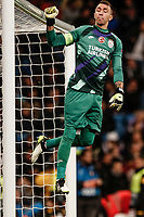 6th November 2019; Estadio Santiago Bernabeu, Madrid, Spain; UEFA Champions League Football, Real Madrid versus Galatasaray; Fernando Muslera (Gal) reaches up to touch the crossbar during the match - Editorial Use
