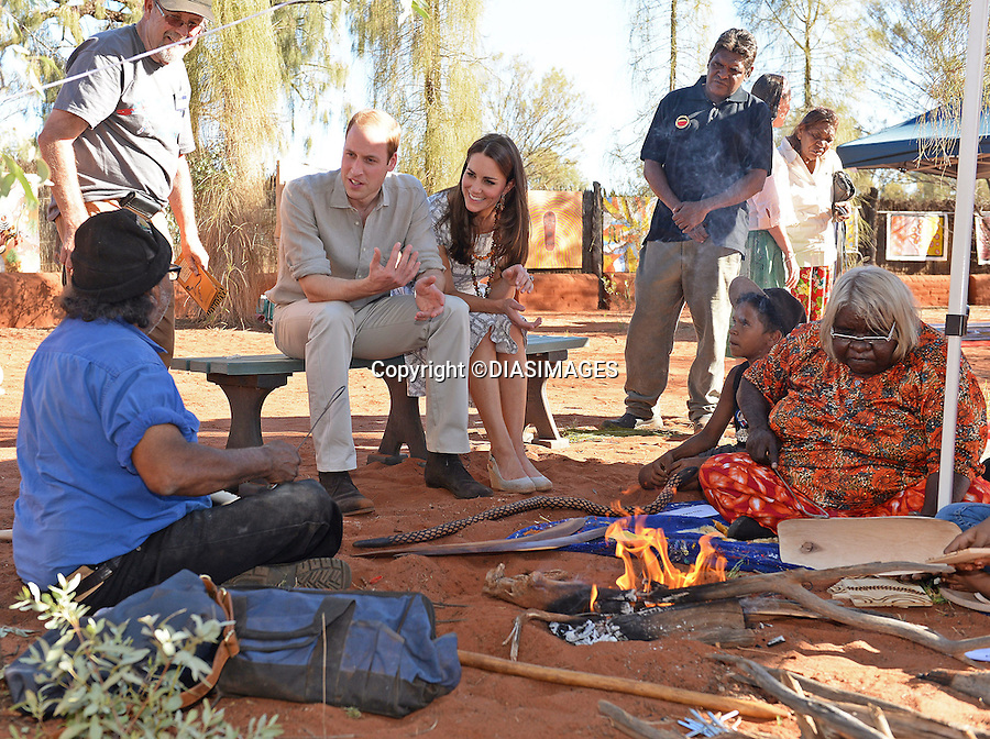 20.04.2014; Uluru: KATE AND PRINCE WILLIAM <br /> visit the Uluru-Kata Tjuta Cultural Centre, where they vieweda &quot;Welcome to Country&quot; display followed by an indigenious art display.<br /> Mandatory Photo Credit: &copy;DIASIMAGES<br /> <br /> <br /> IMMEDIATE CONFIRMATION OF USAGE REQUIRED:<br /> DiasImages, 31 Chinnery Hill, Bishop's Stortford, ENGLAND CM23 3PS<br /> Tel:+441279 324672  ; Fax: +441279656877<br /> Mobile:  0777568 1153