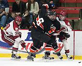 Brian Hart (Harvard - 39), Jeremy Goodwin (Princeton - 6), ?, Sean Malone (Harvard - 17) - The Harvard University Crimson defeated the Princeton University Tigers 3-2 on Friday, January 31, 2014, at the Bright-Landry Hockey Center in Cambridge, Massachusetts.