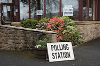 Polling station for the General Election in Chipping village hall, Chipping, Preston, Lancashire.