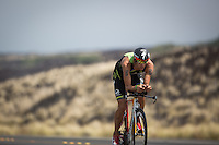 Jordan Rapp on the bike at the 2013 Ironman World Championship in Kailua-Kona, Hawaii on October 12, 2013.