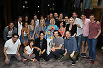 """Jenifer Foote, Santinio Fontana, Reg Rogers, Michael McGrath, Sarah Stiles, Lilli Cooper, John Behlmann, Andy Grotelueschen and Julie Halston with cast during the Broadway Opening Night Actors' Equity Legacy Robe Ceremony honoring Jenifer Foote for """"Tootsie"""" at The Marquis Theatre on April 22, 2019  in New York City."""
