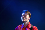 © Joel Goodman - 07973 332324 . 06/06/2015. Manchester , UK . JEREMY PRITCHARD . Everything Everything perform on the Big Top stage at The Parklife 2015 music festival in Heaton Park , Manchester . Photo credit : Joel Goodman