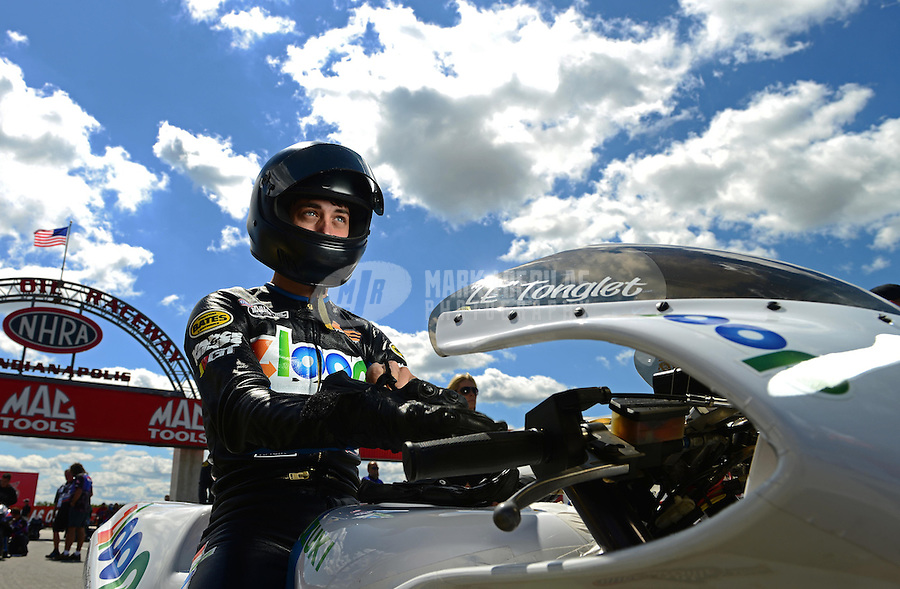 Sept 8, 2012; Clermont, IN, USA: NHRA pro stock motorcycle rider L.E. Tonglet during qualifying for the US Nationals at Lucas Oil Raceway. Mandatory Credit: Mark J. Rebilas-
