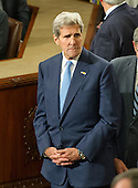 United States Secretary of State John Kerry awaits the arrival of Pope Francis who will deliver an address to a Joint Session of the US Congress in the US Capitol in Washington, DC on Thursday, September 24, 2015.<br /> Credit: Ron Sachs / CNP<br /> (RESTRICTION: NO New York or New Jersey Newspapers or newspapers within a 75 mile radius of New York City)