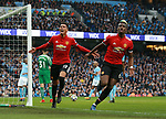Chris Smalling of Manchester United celebrates scoring with Paul Pogba of Manchester United during the premier league match at the Etihad Stadium, Manchester. Picture date 7th April 2018. Picture credit should read: Simon Bellis/Sportimage