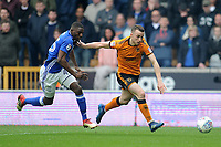 Birmingham City's Wes Harding battles with Wolverhampton Wanderers' Diogo Jota<br /> <br /> Photographer Ashley Crowden/CameraSport<br /> <br /> The EFL Sky Bet Championship - Wolverhampton Wanderers v Birmingham City - Sunday 15th April 2018 - Molineux - Wolverhampton<br /> <br /> World Copyright &copy; 2018 CameraSport. All rights reserved. 43 Linden Ave. Countesthorpe. Leicester. England. LE8 5PG - Tel: +44 (0) 116 277 4147 - admin@camerasport.com - www.camerasport.com