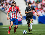 Filipe Luis (l) of Atletico de Madrid fights for the ball with Jesus Navas Gonzalez of Sevilla FC  during the La Liga 2017-18 match between Atletico de Madrid and Sevilla FC at the Wanda Metropolitano on 23 September 2017 in Wanda Metropolitano, Madrid, Spain. Photo by Diego Gonzalez / Power Sport Images