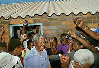 Nelson Mandela in Sebokeng after the 1991 Sebokeng Massacre which left 35 dead.