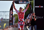 CHATTANOOGA, TN - SEPTEMBER 8:  Women's Champion Daniela Ryf of Switzerland crosses the finish line during the the Women's IRONMAN 70.3 St. World Championships on September 9, 2017 in Chattanooga, Tennessee. (Photo by Donald Miralle for Ironman)
