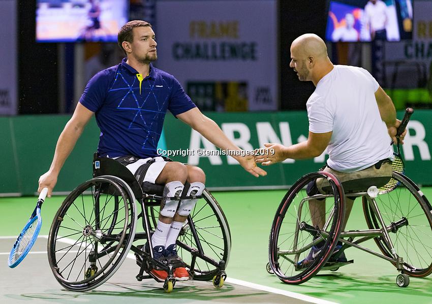 Rotterdam, The Netherlands, 14 Februari 2019, ABNAMRO World Tennis Tournament, Ahoy, Wheelchair, doubles, Stefan Olsson (SWE) Joachim Gerard (BEL) (L),<br /> Photo: www.tennisimages.com/Henk Koster