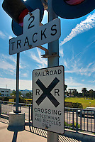 Railroad Track Crossing Sign, Pedestrians And Bicycles