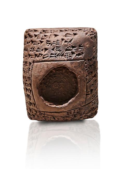 Toprak Bagis Belgesi  cuneiform donation document. Hittite Period 1600 - 1450 BC.  Hattusa Boğazkale. Çorum Archaeological Museum, Corum, Turkey. Against a white bacground.