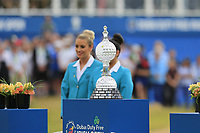 The trophy presentation at the end of Sunday's Final Round of the 2018 Dubai Duty Free Irish Open, held at Ballyliffin Golf Club, Ireland. 8th July 2018.<br /> Picture: Eoin Clarke   Golffile<br /> <br /> <br /> All photos usage must carry mandatory copyright credit (&copy; Golffile   Eoin Clarke)