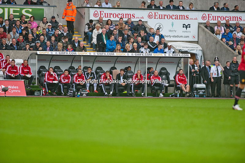 Saturday 17 August 2013<br /> <br /> Pictured: Swansea City Bench <br /> <br /> Re: Barclays Premier League Swansea City v Manchester United at the Liberty Stadium, Swansea, Wales