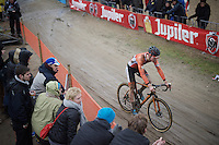 Mathieu Van der Poel (NLD/BKCP-Corendon) got thrown back after a race incident with Wout Van Aert &amp; wouldn't fully return to the front of the race after that<br /> <br /> Men's Elite Race<br /> <br /> UCI 2016 cyclocross World Championships,<br /> Zolder, Belgium