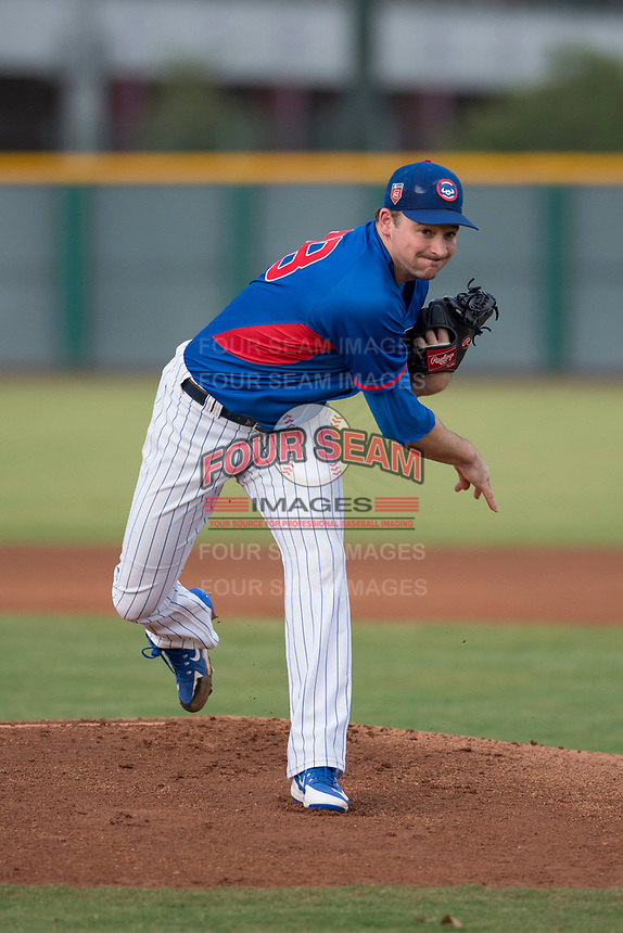 AZL Cubs 2 starting pitcher Allen Webster (78) follows through on his delivery in a rehab assignment during an Arizona League game against the AZL White Sox at Sloan Park on July 13, 2018 in Mesa, Arizona. The AZL Cubs 2 defeated the AZL White Sox 6-4. (Zachary Lucy/Four Seam Images)
