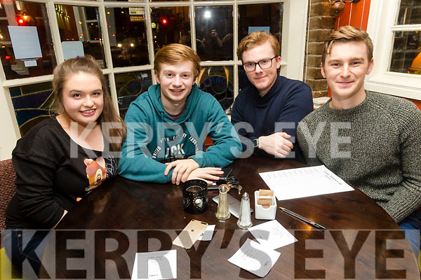 Enjoying the School of Music Evita fundraiser Table Quiz in the Brogue on Friday were Caitríona Fitzmaurice, Ian Dillane, Alan McLoughlin and Sean Atkinson