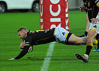Regan Verney scores during the Mitre 10 Cup rugby union match between Wellington Lions and Canterbury at Westpac Stadium in Wellington, New Zealand on Sunday, 17 September 2017. Photo: Dave Lintott / lintottphoto.co.nz