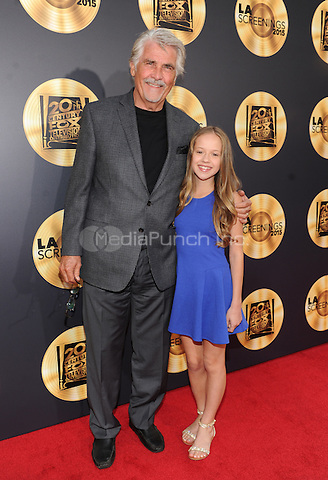 LOS ANGELES, CA - MAY 21:  James Brolin, left, and Holly Barrett attend the FOX Los Angeles Screenings Party 2015 on the Fox Studio Lot on May 21, 2015 in Los Angeles, California. Credit: PGFM/MediaPunch